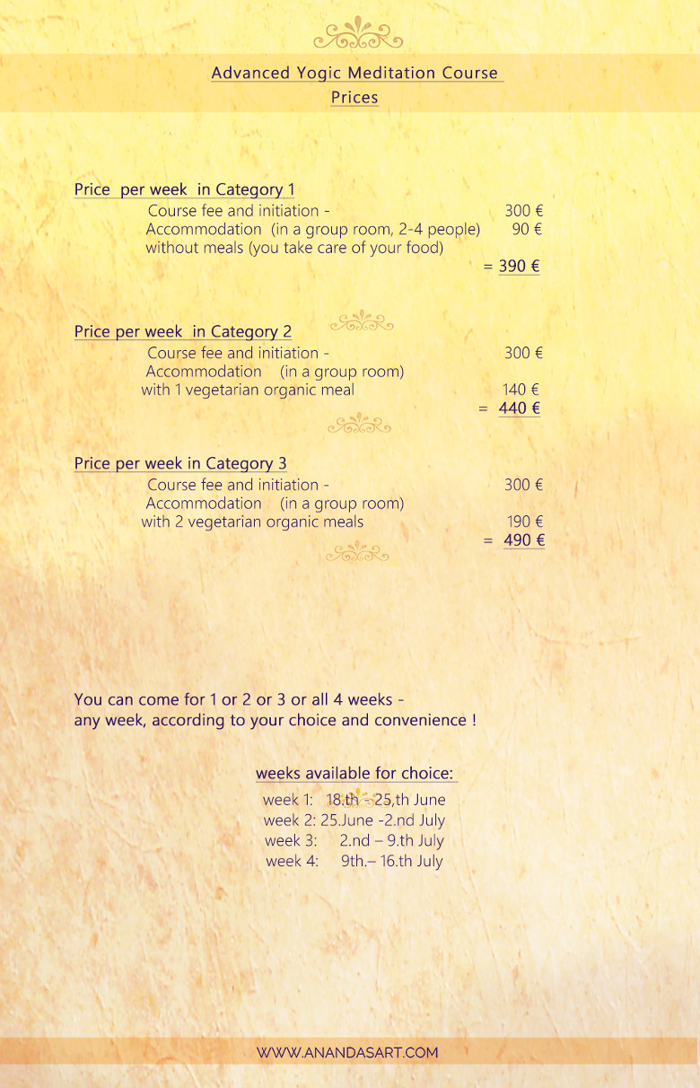 Advanced Yogic Meditation Course - pricelist