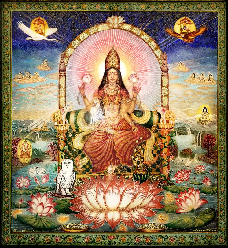 Lakshmi on the Lotus Throne, the biggest Transparent Gemstone painting in the world