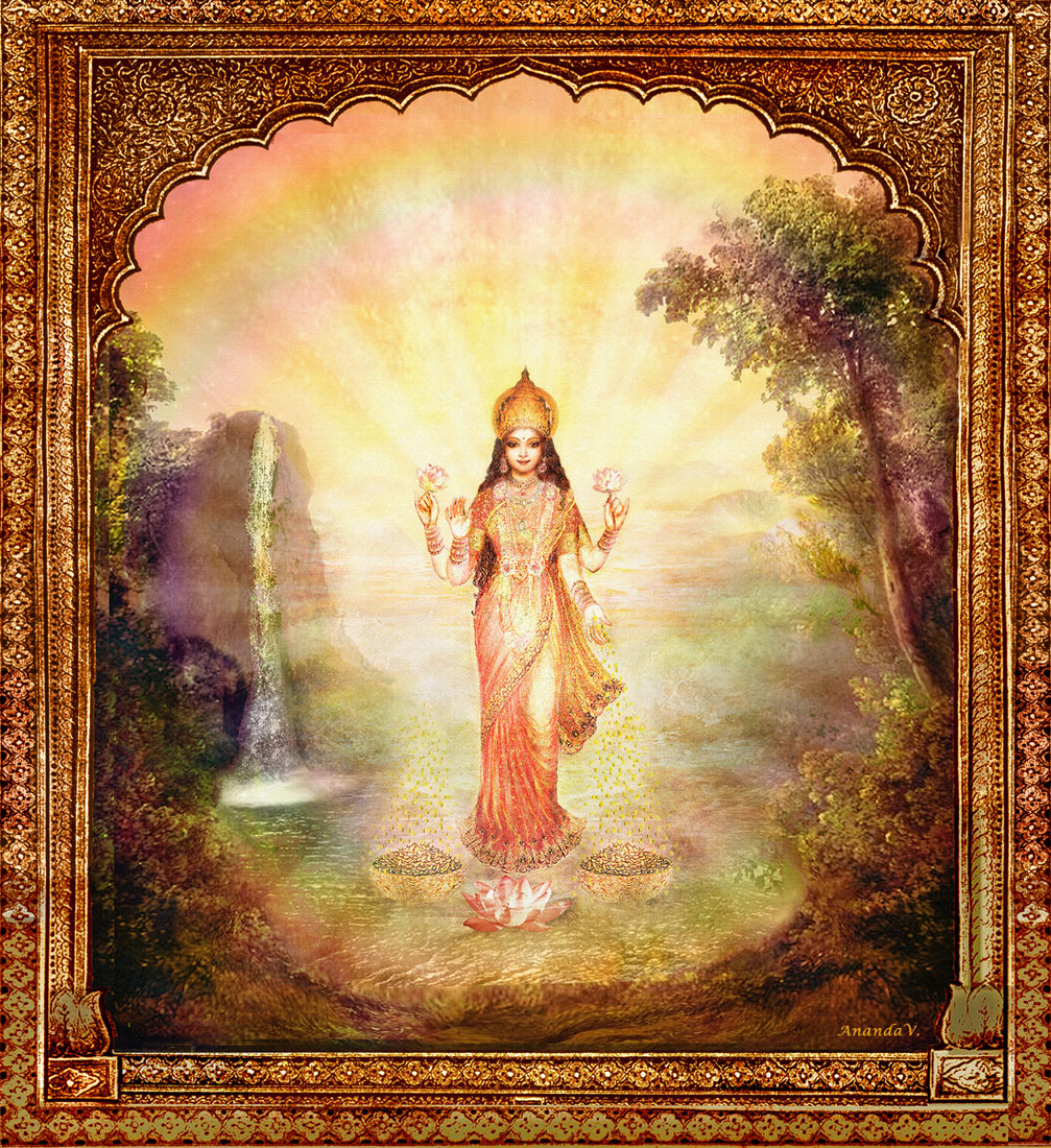 Lakshmi, Goddess of Wealth, with the Waterfall